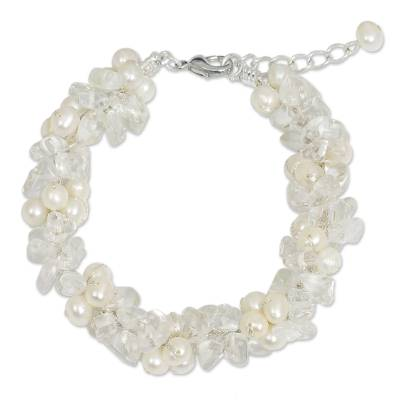 Quartz and White Pearls Handmade Bracelet