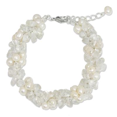Cultured pearl and quartz beaded bracelet, 'Gracious Lady' - Quartz and White Pearls Handmade Bracelet