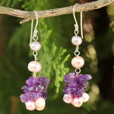 Cultured pearl and amethyst beaded earrings, 'Gracious Lady' - Pink Pearls and Amethyst Handmade Earrings