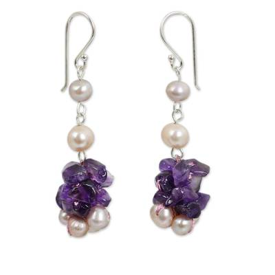 Pink Pearls and Amethyst Handmade Earrings