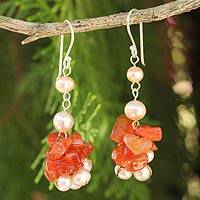 Cultured pearl and carnelian beaded earrings, 'Gracious Lady' - Thai Hand Knotted Pearl and Carnelian Beaded Earrings