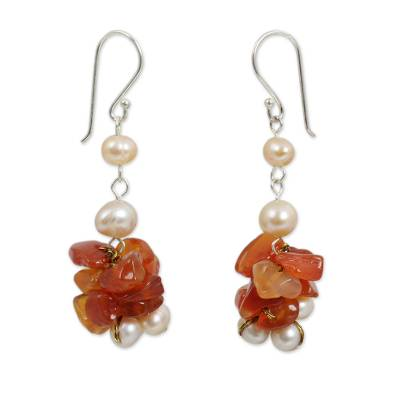 Thai Hand Knotted Pearl and Carnelian Beaded Earrings