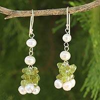 Cultured pearl and peridot beaded earrings, 'Gracious Lady' - Thai Hand Knotted Pearl and Peridot Beaded Earrings