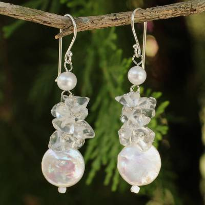 Cultured pearl and quartz cluster earrings, 'Exquisite Elegance' - Hand Knotted Pearl and Quartz Thai Earrings