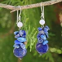 Cultured pearl and lapis lazuli cluster earrings, 'Exquisite Elegance'