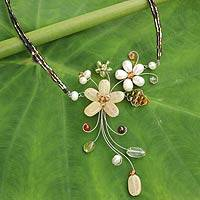 Cultured pearl and gemstone flower necklace, 'Honey Lily'