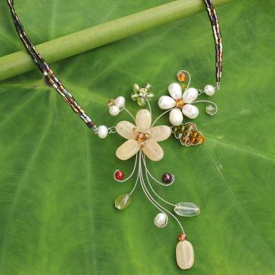 Cultured pearl and gemstone flower necklace, 'Honey Lily' - Handmade Pearl and Gemstone Floral Choker
