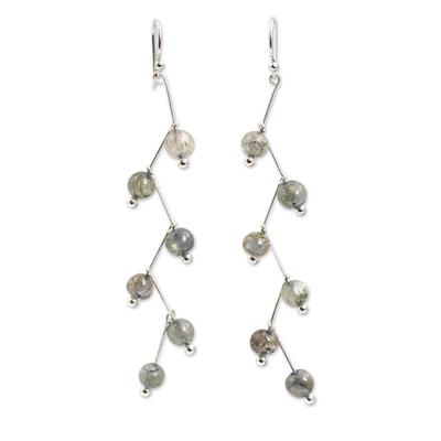 Labradorite dangle earrings, 'Lightning' - Modern Handcrafted Labradorite Dangle Earrings
