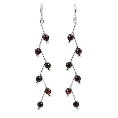 Modern Handcrafted Garnet Dangle Earrings