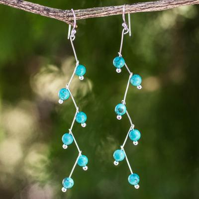Dangle earrings, 'Lightning' - Modern Handcrafted Blue Calcite Dangle Earrings