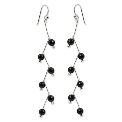 Onyx dangle earrings, 'Lightning' - Modern Handcrafted Onyx Dangle Earrings
