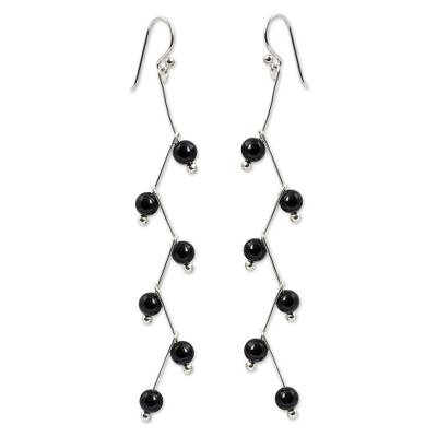 Modern Handcrafted Onyx Dangle Earrings
