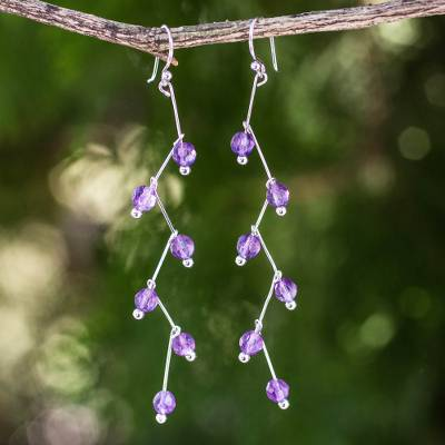 Amethyst dangle earrings, 'Lightning' - Modern Handcrafted Amethyst Dangle Earrings
