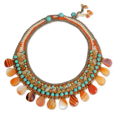 Multi Gemstone Crocheted Choker Necklace