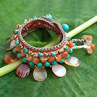 Carnelian and aventurine wristband bracelet, 'Dawn Sun' - Crocheted Wristband Bracelet with Multi Gemstones