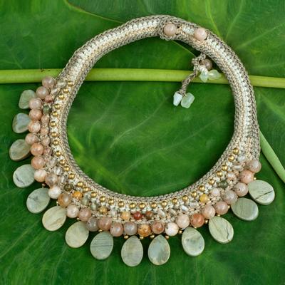 Multi-gemstone choker, 'Spring Morn' - Crocheted Gemstone Choker Necklace
