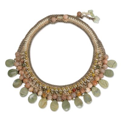 Crocheted Gemstone Choker Necklace