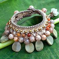 Aventurine and rutilated quartz wristband, 'Spring Morn' - Crocheted Gemstone Wristband Bracelet