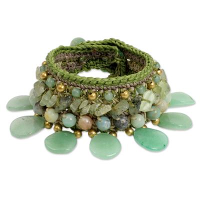 Hill Tribe Quartz and Prehnite Wristband Bracelet