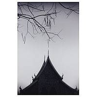 'Peaceful Wat Chiang Man' - Thai Buddhist Temple Black and White Photograph
