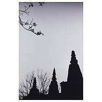'Peaceful Wat Chet Yot' - Black and White Photograph of Thai Buddhist Temple