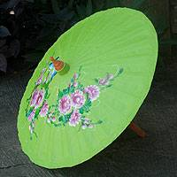 Cotton and bamboo parasol, 'Blossoming Lanna in Lime' - Handpainted Cotton and Bamboo Umbrella