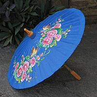 Cotton and bamboo parasol, 'Blossoming Lanna in Blue' - Hand-painted Cotton and Bamboo Parasol