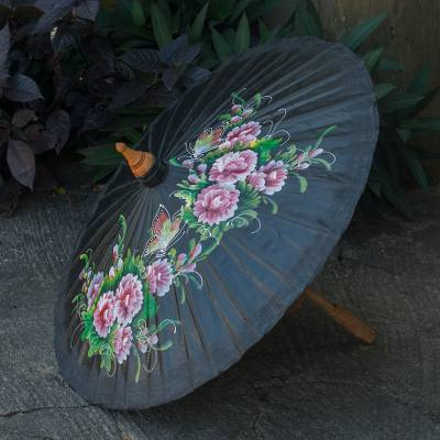 Cotton and bamboo parasol, 'Blossoming Lanna in Black' - Cotton and Bamboo Handcrafted Parasol