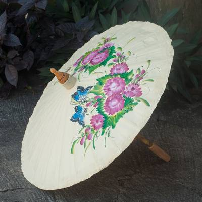 Cotton and bamboo parasol, 'Blossoming Lanna in Ivory' - Cotton and Bamboo Handcrafted Ivory Floral Parasol