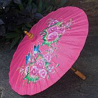 Cotton and bamboo parasol, 'Blossoming Lanna in Pink' - Pink Cotton and Bamboo Handcrafted Parasol