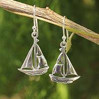 Sterling silver dangle earrings, 'Mariner'
