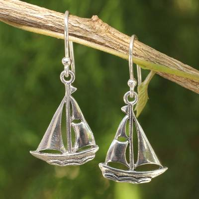 Sterling silver dangle earrings, 'Mariner' - Sailboat Theme Sterling Silver Earrings