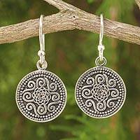 Sterling silver dangle earrings, 'Mystical Medallion' - Unique Sterling Silver Dangle Earrings