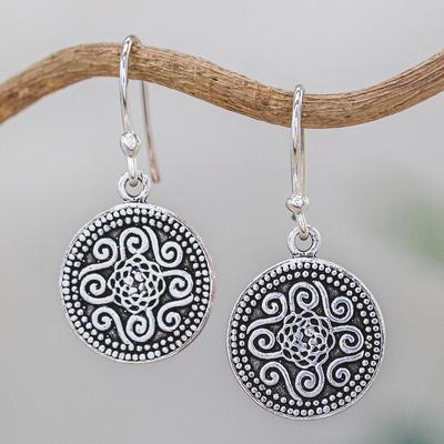 Sterling silver dangle earrings, 'Mystical Medallion' - Unique Sterling Silver Dangle Earrings