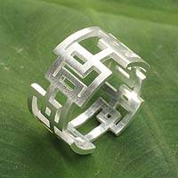 Sterling silver band ring, 'Open Windows'