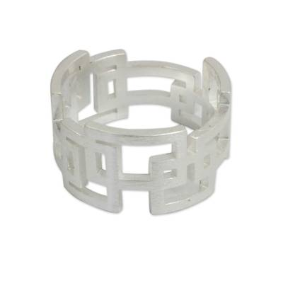 Sterling silver band ring, 'Open Windows' - Thai Artisan Crafted Sterling Silver Band Ring