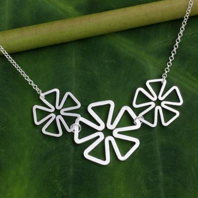 Sterling silver flower necklace, 'Blossoming Trio' - Fair Trade Sterling Silver Necklace