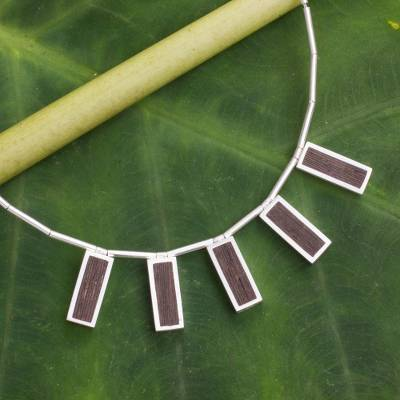 Sterling silver and wood pendant necklace, 'Natural Minimalism' - Thai Silver Necklace with Dark Wood Insets