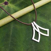 Men's sterling silver necklace, 'Siam Bow Tie' - Original Sterling Silver Necklace for Men