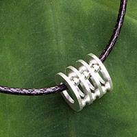 Men's sterling silver pendant necklace, 'Modern Abacus' - Original Men's Sterling Silver Pendant Necklace