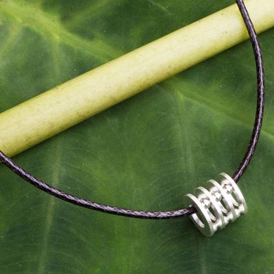 Men's sterling silver pendant necklace, 'Modern Abacus' - Original Men's Sterling Silver Pendant Necklace