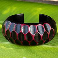 Wood cuff bracelet, 'Hot Pink Honeycomb' - Artisan Crafted Black and Pink Mango Wood Cuff Bracelet