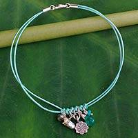 Labradorite and cultured pearl charm bracelet, 'Hill Tribe Bloom' - Artisan Crafted Multi Gem and Pearl Charm Bracelet