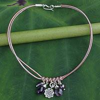 Amethyst and cultured pearl charm bracelet, 'Hill Tribe Rose' - Amethyst Pearl and Silver Charms on Leather Bracelet