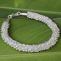 Silver beaded bracelet, 'Karen Starlight'