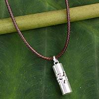 Men's sterling silver necklace, 'Thai Art'