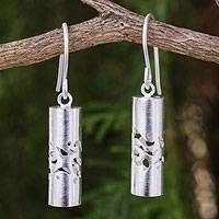 Sterling silver dangle earrings, 'Thai Art' - Cylindrical Sterling Silver Earrings