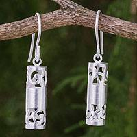 Sterling silver dangle earrings, 'Lanna Sonnet' - Thai Artisan Crafted Sterling Silver Hook Earrings