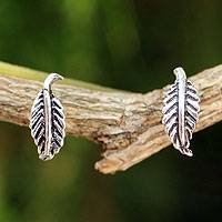 Sterling silver button earrings, 'Whispering Leaves' - Silver Leaf Theme Earrings