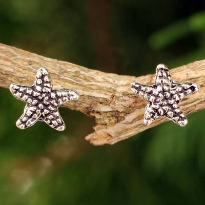 Sterling silver button earrings, 'Baby Starfish' - Silver Sea Life Theme Earrings